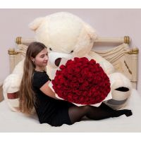101 роза и мишка 200 см