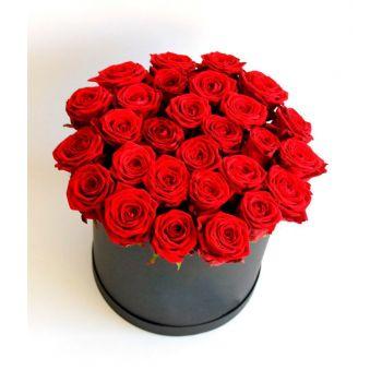 27 красных роз в коробке