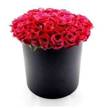 51 роза в черной коробке
